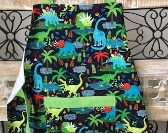 Kids' unisex dinosaur aprons, child's cooking apron, kids art apron, Mommy's helper, toddler apron, child birthday gift, gender neutral gift