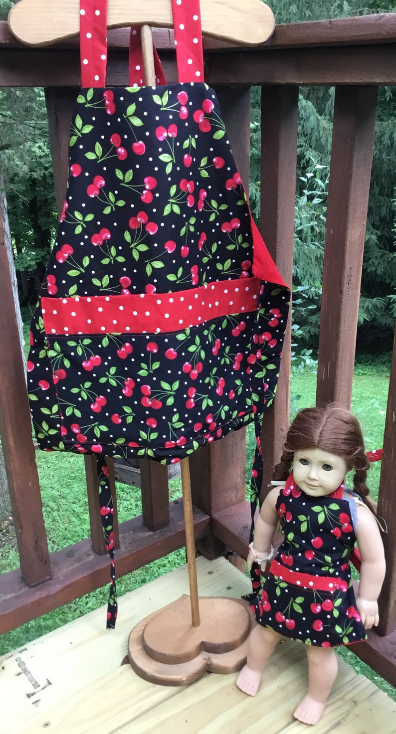 Retro Cherry Doll and Child Matching Apron Set ready to ship