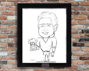 Custom Personalized Caricature Printable Art Funny Gift Idea Etsy