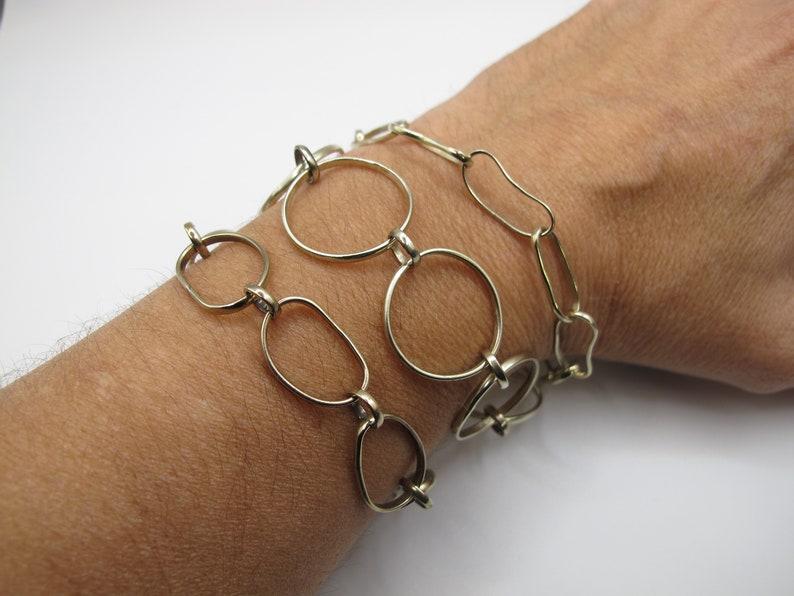 Made to Order Unisex Gift Elegant Man Birthday Gift Big Links Alpaca Artisan Unisex Bracelet Man Handmade Chain Bracelet
