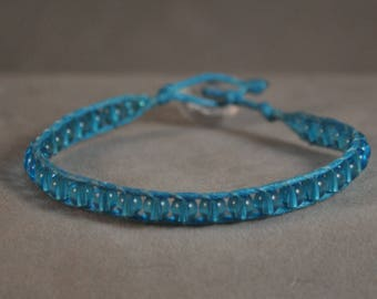 aqua beaded wrap bracelet