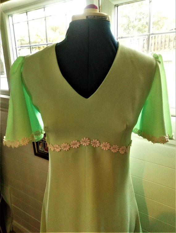 Vintage Mint Green Dress, Matching Cape, Maxi Dres