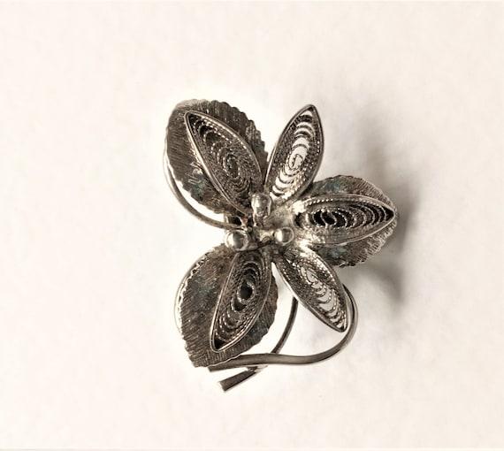 Vintage Filigree Brooch, Silver Brooch, 1930's Sil