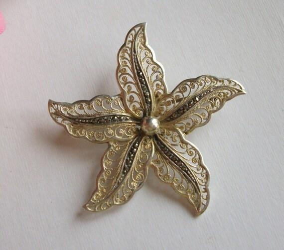 Vintage Silver Brooch,  1960's Brooch, Marcasite B