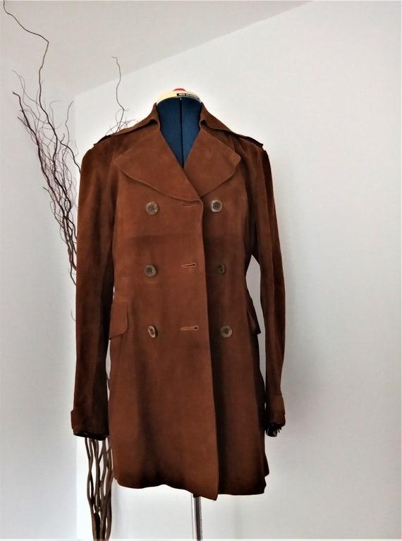 Vintage Harrods Jacket, Brown Suede Jacket, 1970's