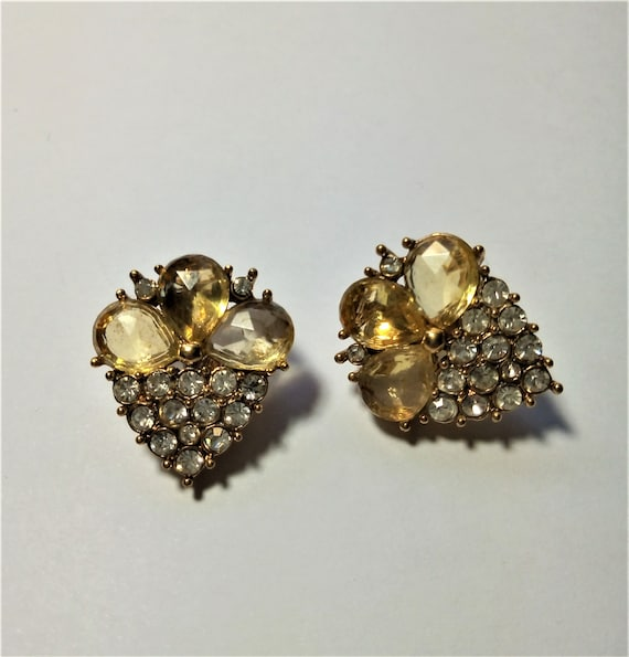 Vintage Monet Earrings, Clip On Earrings, Paste Ge
