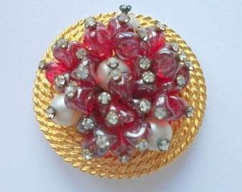 Vintage Jerry De Nicola Brooch, Ruby Red Art Glass Gems, Faux Pearls, Gilt Brooch, Vintage Wedding,  Bridal, High End, Rhinestones