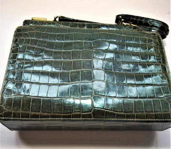 Stunning 1940's Handbag, Crocodile Handbag, Top Ha