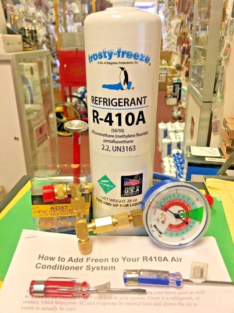 410a, r410 Do-It-Yourself Recharge Kit, Color-Coded Gauge, Easy Instructions