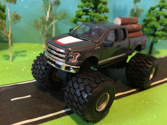 Lifted 2015 F150 >> 1 64 Scale Custom G 5 Lift 2015 Ford F 150 Large Mud And Pulling Rubber Tires Logs