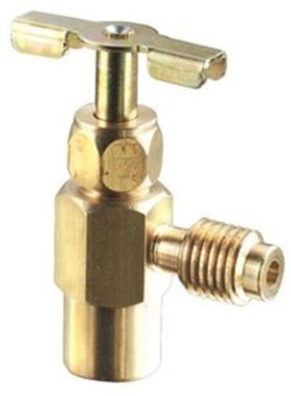 R-134a R12 Brass Professional Top-Mount Screw On Can Taper Large Blue Handle