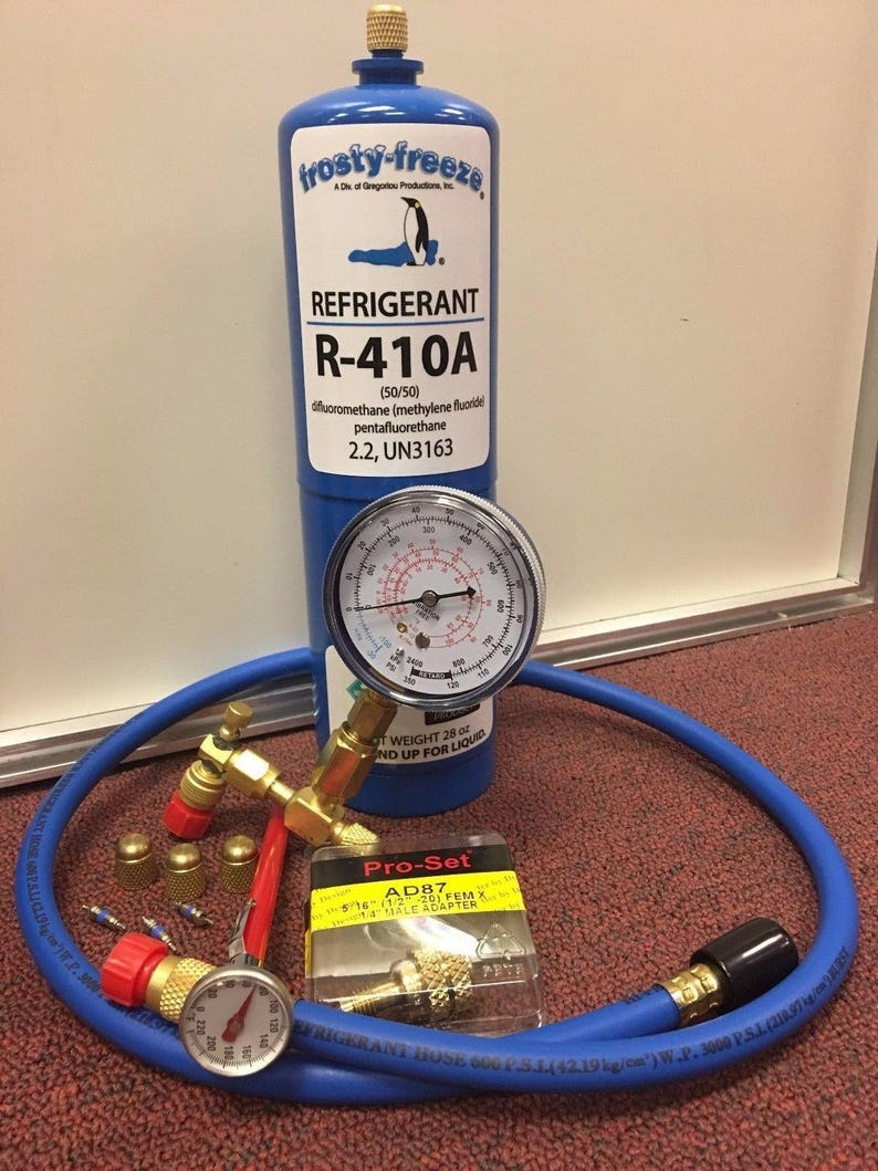 R410, R410a, Refrigerant Recharge Kit, 28 oz , Thermometer, 3 Cores & Caps,  r410