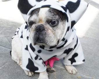 French Bulldog Boston Terrier Pug Dog Froodies Hoodies Halloween Costume Cosplay Spotted Cow Fleece Jacket Sweatshirt Coat