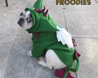 French Bulldog Boston Terrier Pug Dog Froodies Hoodies Costume Cosplay Green Dragon Fleece Jacket Sweatshirt Coat