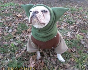 French Bulldog Boston Terrier Pug Dog Froodies Hoodies Halloween Costume Cosplay Star Wars Yoda Fleece Jacket Sweatshirt Coat