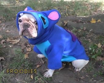 French Bulldog Boston Terrier Pug Dog Froodies Hoodies Halloween Costume Cosplay Lilo and Stitch Fleece Jacket Sweatshirt Coat
