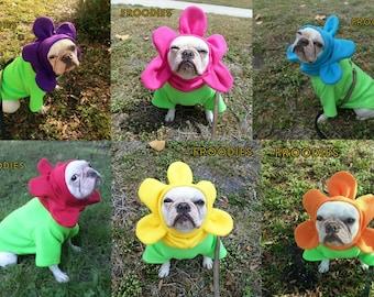 French Bulldog Boston Terrier Pug Dog Froodies Hoodies Halloween Costume Cosplay Flower Color Choice Fleece Jacket Sweatshirt Coat