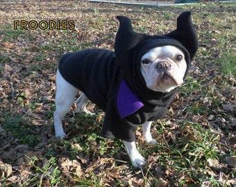 French Bulldog Boston Terrier Pug Dog Froodies Hoodies Halloween Costume Cosplay Maleficent Evil Fairy Fleece Jacket Sweatshirt Coat