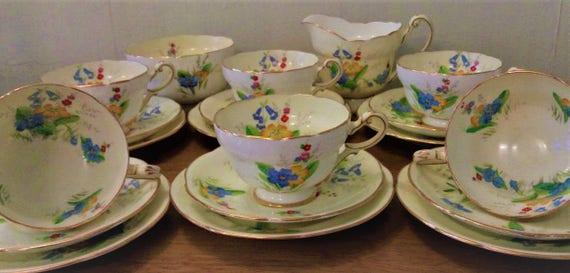 Paragon hand-decorated tea set marked E50F 1960s Pink rose florals. Vintage