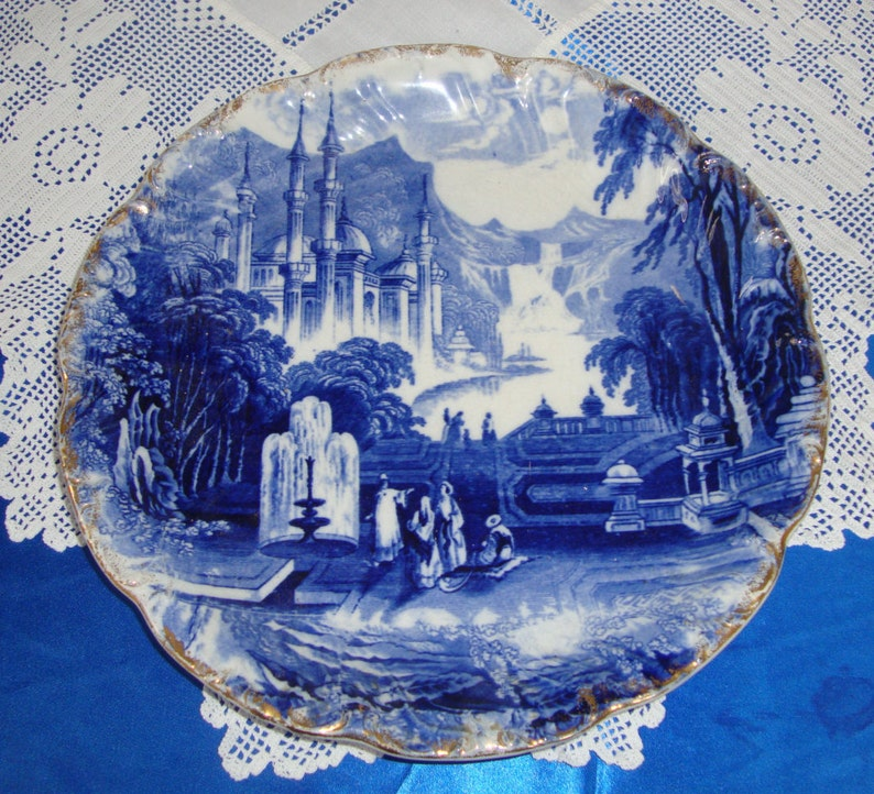 Constantinople Antique Stafforshire Flow Blue Cabinet Plate OLD ISTANBUL KONSTANTINOPEL