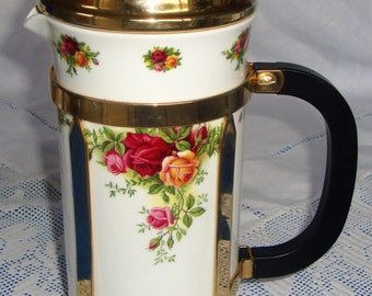 Rare ROYAL ALBERT Old Country Roses Coffee Maker
