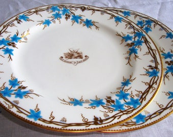 Antique ROYAL WORCESTER Cabinet Plate Turquoise Blue Enameled