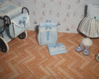 Dollhouse miniature 1/12. Diaper and changer in blue