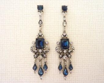 Sapphire Earrings Art Deco Earrings Great Gatsby Earrings Art Nouveau Earrings Wedding Bridal Earrings Drop Vintage Earrings Downton Abbey