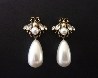 eef4ebe629e Bee Earrings Honey Bee Earrings Pearl Earrings Bee Jewelry Insect Earrings  Insect Jewelry Bug Earrings Art Deco Earrings Art Nouveau Earring