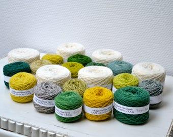 Naturally Dyed Fylgje Knitting Kit - green, grey, yellow