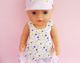 Baby born doll dress. Baby doll costume. Hat end dress.