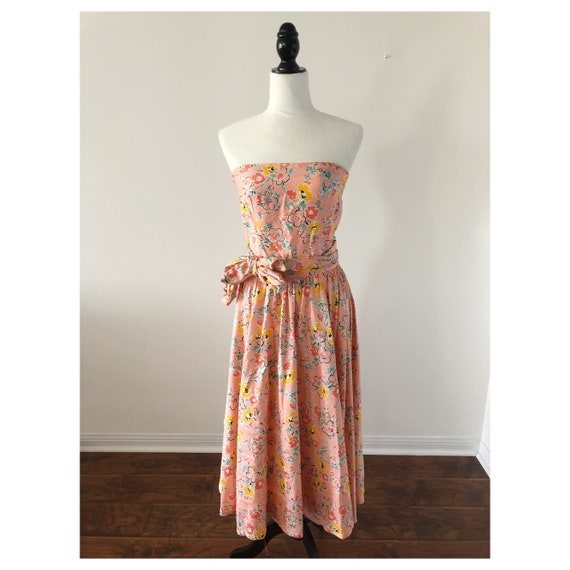 90's Strapless Floral Dress Dress
