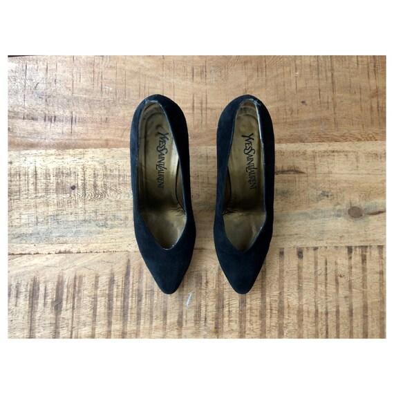 SOLD - 1980's YSL Black Suede Pumps