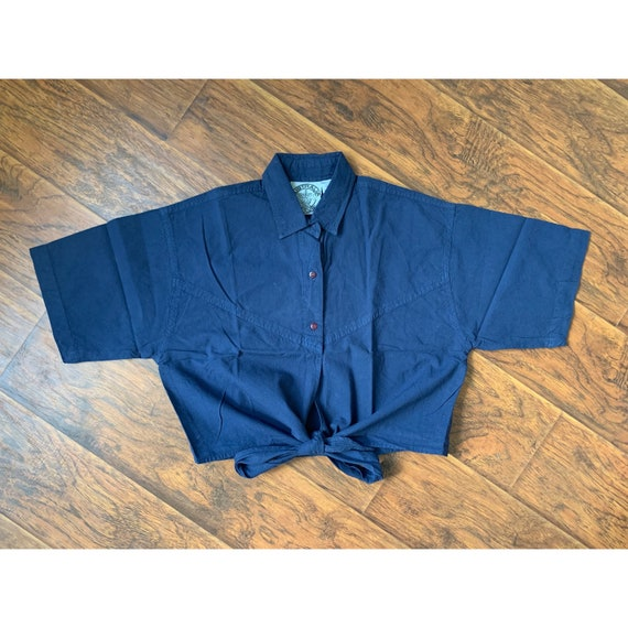 90's Cotton Tie Front/Wrap Shirt