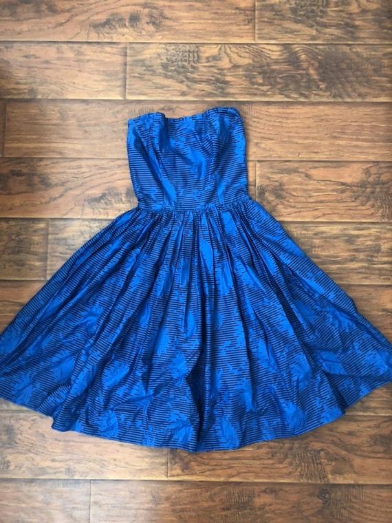 1950's Horrockses Blue Strapless Cotton Dress - image 2