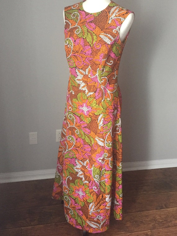 SALE - 70's Psychedelic Maxi Dress