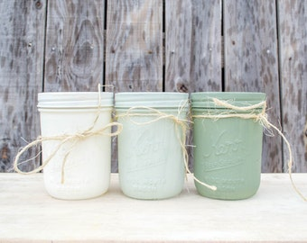 Painted Mason Jars Set of 3, Wedding Centerpiece, Rustic Decor, Farmhouse Decor, Green Mason Jars