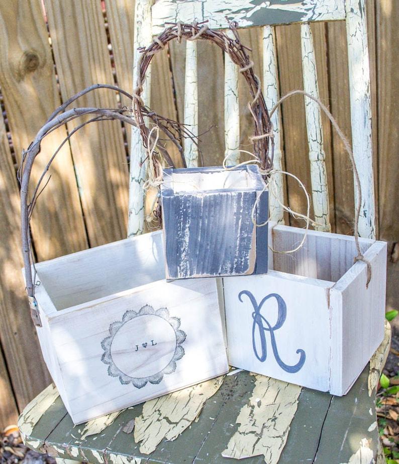 Set of 3 Rustic Wedding Flower Girl Box Basket Large Flower Girl Box