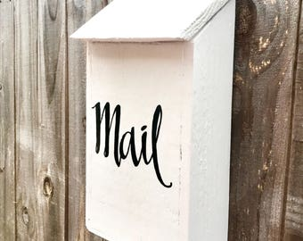 Vintage Style Mail Holder, Wood Mail Box, Office Decor, Entryway Decor, Porch Decor