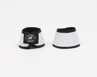 White Glitter Bell Boots - For Breyer, Stone, Traditional 1:9 Scale Model Horses
