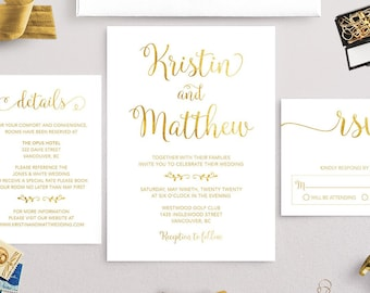 Wedding Invitation Set, Calligraphy Wedding Invitation Printable, Minimalist Wedding Invitation, Simple Wedding Invitation White Gold , GFWF