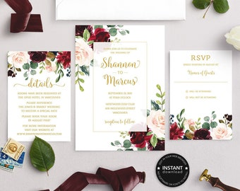 graphic regarding Printable Wedding Invitation Kits called Wedding day Invitation Kits Etsy