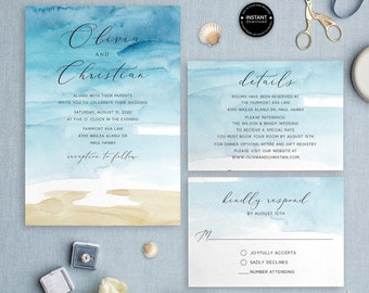 71eb407b1665ae Beach Wedding Invitation Template