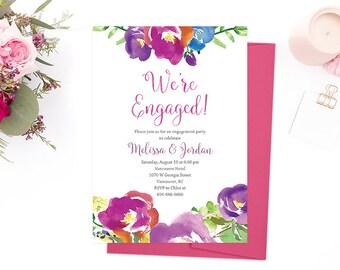 Garden Engagement Party Invitation, Purple Wedding Engagement Party Invitation, Engagement Party Invitation Printable, Destination Wedding