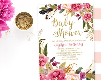 Spring Baby Shower Invitation Girl, Floral Baby Shower Invitation Printable, Watercolor Baby Shower Invitation, Rustic Baby Shower Invite