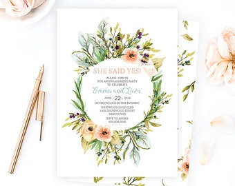 Rustic Engagement Invitation, Floral Engagement Invitation, Garden Engagement Invitation, Woodland Wedding Engagement Invitation