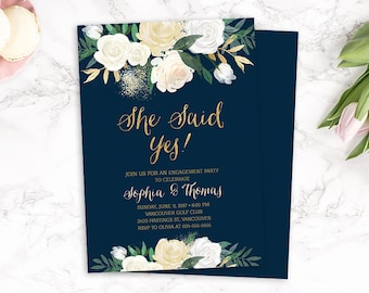 Floral Engagement Party Invitation, Floral She Said Yes Invitation, Navy Gold Engagement Party Invitation, Printable Engagement Invite