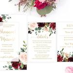 Marsala Wedding Invitation Set, Printable Burgundy Wedding Invitation Suite, Floral Wedding Invitation Template, Watercolor Wedding, LSS7