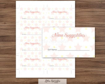 baby name suggestion cards pink elephant girl name etsy