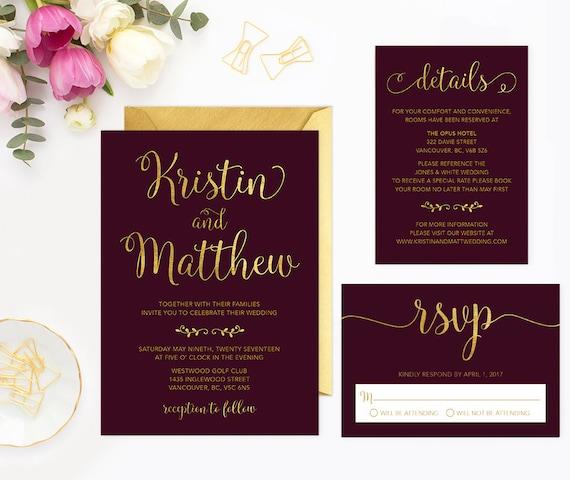 Burgundy Wedding Invitation Set Printable Burgundy Wedding Etsy